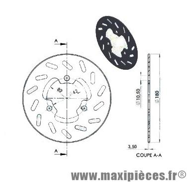 Disque de freins ng arrière diamètre 180 pour derbi senda r-sm peugeot xp6 après 2002 ...