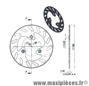 disque de frein avant/arrière diamètre 180 mm pour peugeot speedfight ...