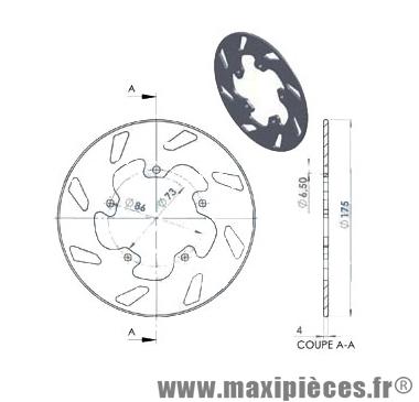 Disque de frein arrière diamètre 175 mm pour gilera runner piaggio nrg mc3 ...