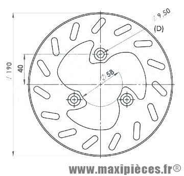 Disque de frein avant diamètre 190 mm pour peugeot trekker buxy vivacity elyseo sv ...