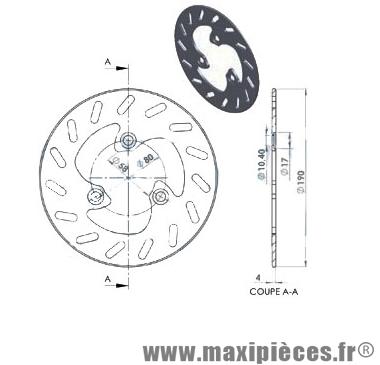 Disque de frein avant diamètre 190 mm pour mbk booster ng après 1999 mbk rocket nitro arrière nitro ...