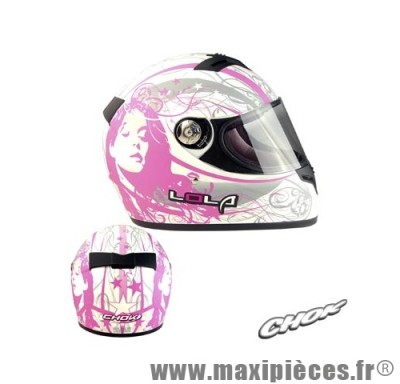 casque integral chok lola 11 blanc/rose mat xl