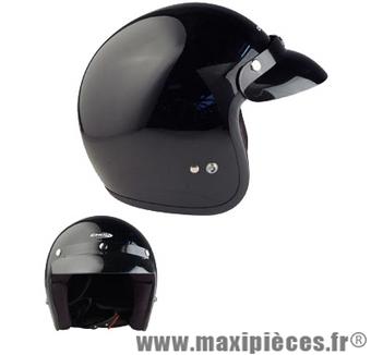 casque jet visiere chok noir verni Taille: L (Large)
