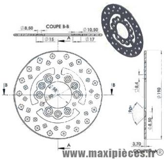 disque de frein avant diamètre 190 mm pour mbk stunt naked ...