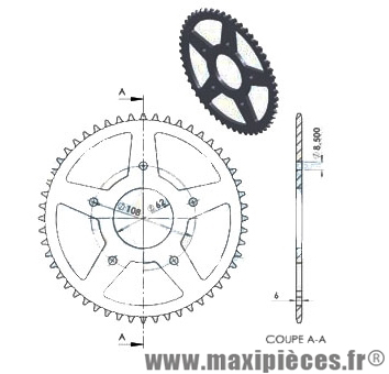 couronne de kit chaine (420) 48 dents Ø62 pour peugeot xr7 nk7 sm xps 05►08 rieju rrx spike smx