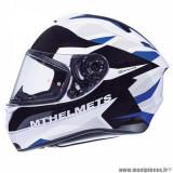 Casque intégral adulte marque MT Helmets Targo Enjoy taille XXL (T63-64) couleur bleu blanc nacré brillant