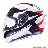 Casque intégral adulte marque MT Helmets Targo Enjoy taille S (T55-56) couleur rouge blanc nacré brillant
