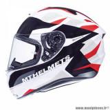 Casque intégral adulte marque MT Helmets Targo Enjoy taille XXL (T63-64) couleur rouge blanc nacré brillant