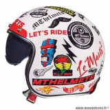 Casque jet adulte marque MT Helmets Le Mans 2 SV Anarchy taille L (T59-60) couleur blanc