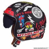 Casque jet adulte marque MT Helmets Le Mans 2 SV Anarchy taille L (T59-60) couleur noir