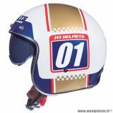 Casque jet adulte marque MT Helmets Le Mans 2 SV Numberplate taille S (T55-56) couleur blanc or nacré brillant