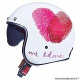Casque jet adulte marque MT Helmets Le Mans 2 SV Love taille L (T59-60) couleur blanc rose nacré brillant