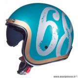Casque jet adulte marque MT Helmets Le Mans 2 SV Hipster taille L (T59-60) couleur vert brillant