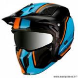 Casque trial adulte marque MT Helmets Streetfighter SV taille XXL (T63-64) couleur orange fluo bleu noir brillant