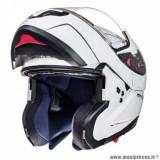 Casque modulable adulte marque MT Helmets Atom SV taille XXL (T63-64) couleur uni blanc brillant