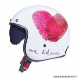 Casque jet adulte marque MT Helmets Le Mans 2 SV Love taille XXL (T63-64) couleur blanc rose nacré brillant