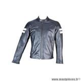 Blouson cuir marque Trendy Lenoa taille L couleur noir blanc