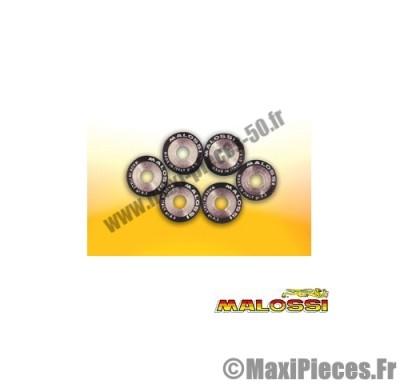 galets maxi scooter malossi par 6 diamètre 25x 22,2 poid 30,00 grammes pour variateur d'origine et multivar .
