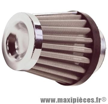 Filtre à air adaptable avec 3 adaptateur diamètre 28/35/45mm conique type kn droit chromé