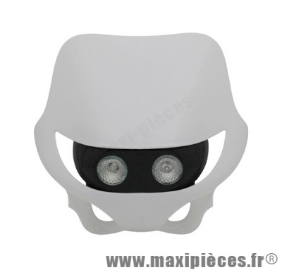 Tête de fourche plaque phare enduro halogène 2x20watts pour moto 50 à boite (blanc)