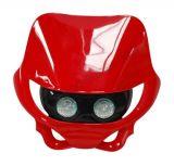 Tête de fourche plaque phare enduro halogène 2x20watts pour moto 50 à boite (rouge)