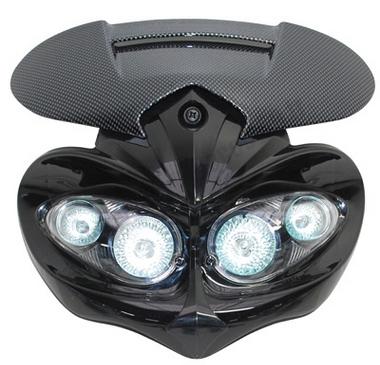 Tête de fourche plaque phare manga halogène 4x20watts pour moto 50 à boite (carbone/noir)