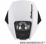 Tête de fourche plaque phare Exura Polisport blanc pour moto 50 à boite