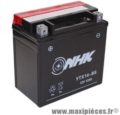 Batterie 12v /12ah (ytx14-bs) sans entretien pour piaggio 125 mp3/x9 suzuki 650 burgman... (dimension: lg150xl87xh145)
