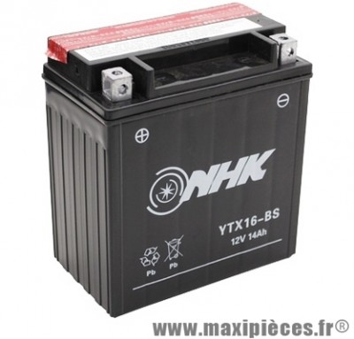 batterie 12v /14ah (ytx16-bs) sans entretien pour piaggio 400 mp3... (dimension: lg150xl87xh161)