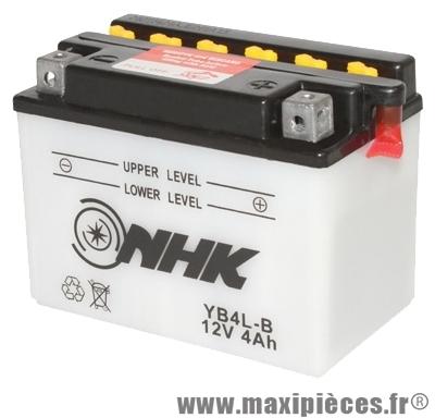Batterie 12v / 4ah (nhk yb4l-b)(vendu sans acide) pour tous les 50cc (dimension: lg120xl70xh92)