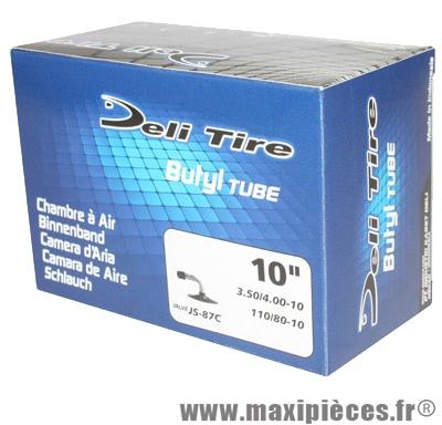 Prix spécial ! Chambre à air 10 pouces Deli Tire 3.50/4.00x10 - 110/80x10 - valve standard coudée JS-87C