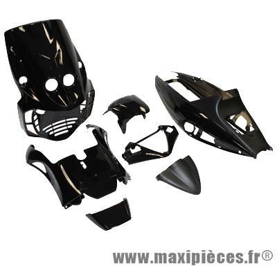 Kit carrosserie carénage noir brillant pour malaguti f12 50cc (11 pièces)