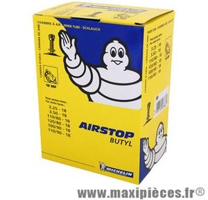 Chambre à air 18 pouces Michelin 3.25/3.50x18 (110+120/80x18 et 100+110/90x18) - valve droite