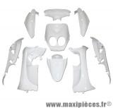 Kit carrosserie carénage blanc pour mbk ovetto yamaha neo's a partir de 2008 (9 pièces)