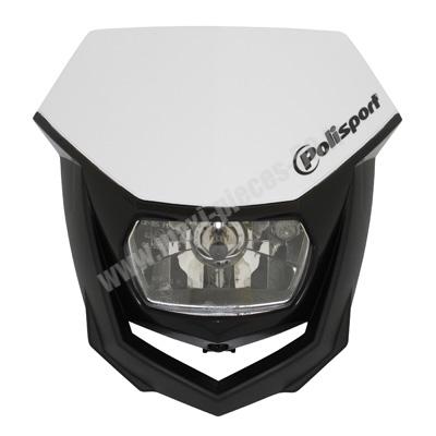 Tête de fourche plaque phare halo Polisport blanc pour moto 50 à boite