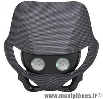 Tête de fourche plaque phare enduro halogène 2x20watts pour moto 50 à boite (carbone)