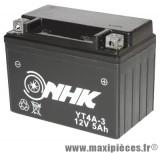 Batterie 12V/5ah YT4A-3 sans entretien gel prêt a l'emploi pour tous type de scooters/moto/quad et autre (dimension lg114xl71xh86)