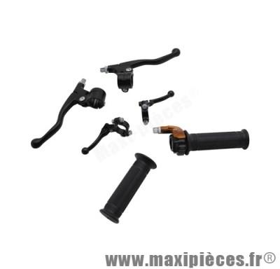 Kit poignée gaz+levier mini targa noir pour mob peugeot 103, mbk 51