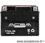 Batterie 12v / 3ah (ytx4l-bs) sans entretien pour x-power/tzr50/nitro 100/ovetto 100... (dimension: lg114xl71xh86)